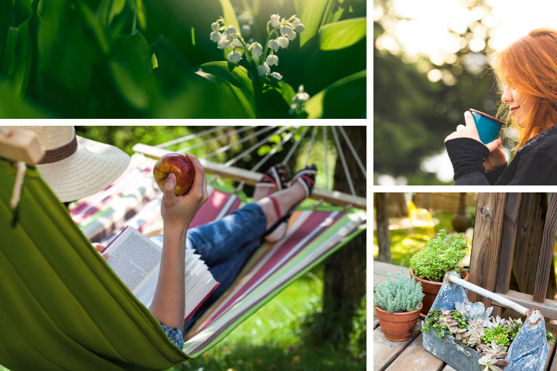 Backyard living – outdoor relaxation: Lily of the Valley, portable planters, hammock reading, relaxing with coffee.