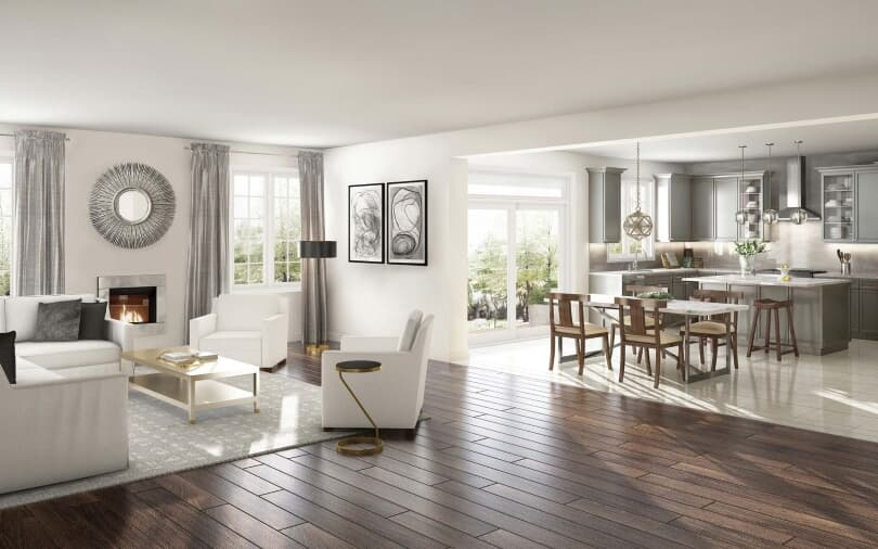 Family Room and Kitchen Rendering | Pathways in Caledon East, Ontario | Brookfield Residential