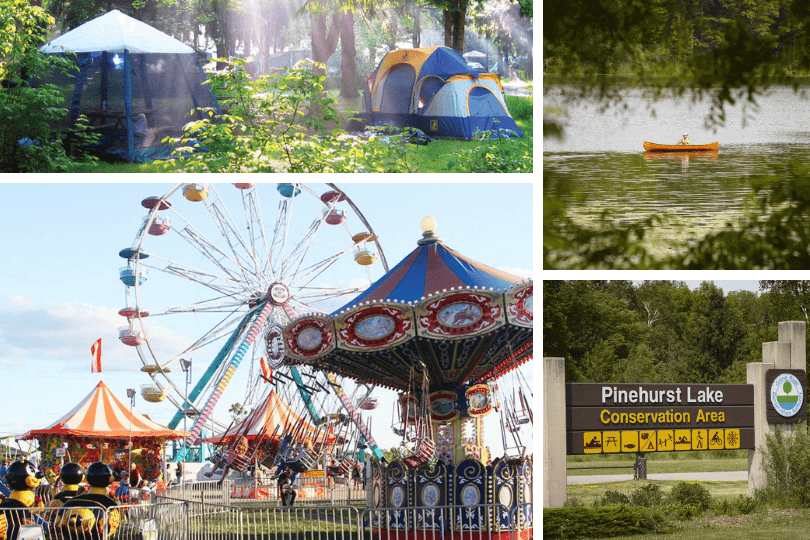 Clockwise from top left: camping at the Pinehurst Lake Conservation Area (photo via the Grand River Conservation Area), canoeing on Pinehurst Lake, the Pinehurst Lake Conservation Area's main sign and the Paris Fair (photo via Campbell Amusements, the Paris Fair's entertainment provider).