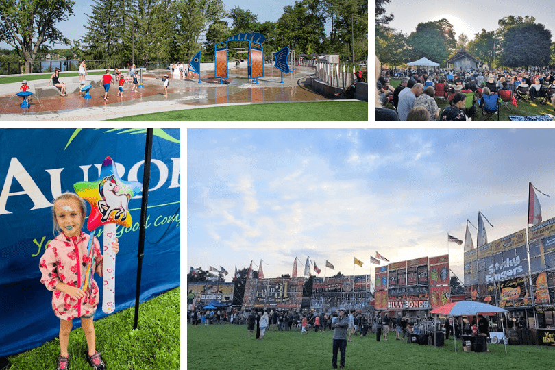 Clockwise from top left: Lake Wilcox Park's splash pad (photo via Richmond Hill's website), Concerts in the Park, the scene at Aurora Ribfest and a girl with face-painting at Aurora Ribfest (last 3 photos via the Town of Aurora's website).