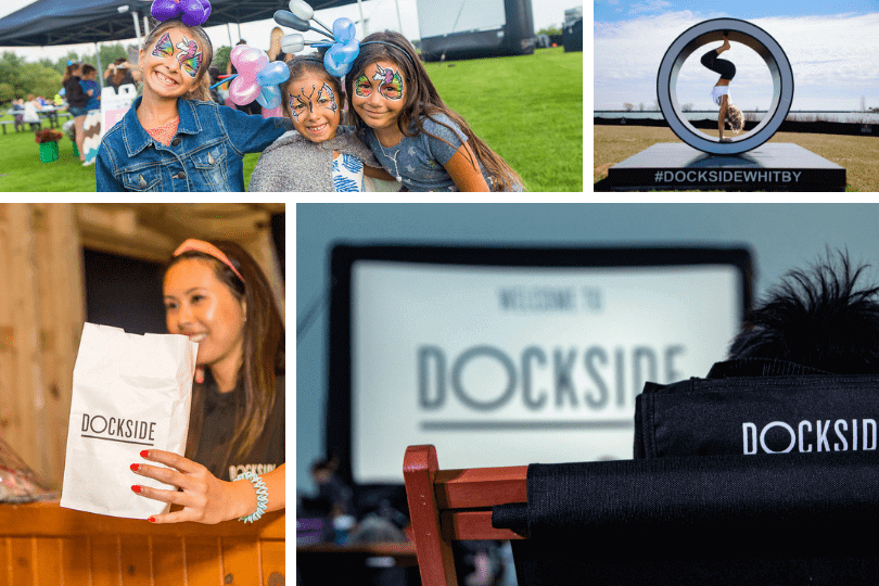 Clockwise from top left: kids enjoying face-painting and fun at a Dockside in Whitby event last year, Yoga by the Water classes at Dockside, the big screen and VIP seating at Dockside and a staff member giving out popcorn at a Dockside Lakeside Cinema evening.