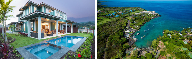 L: Makai Plan 4 Exterior; R: Aerial View | Holua Kai at Keauhou in Kailua Kona, Hawaii | Brookfield Residential
