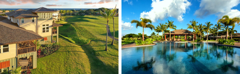 L: PiliMai at Poipu Exterior; R: KaMilo at Mauna Lani Pool | Big Island of Hawaii | Brookfield Residential