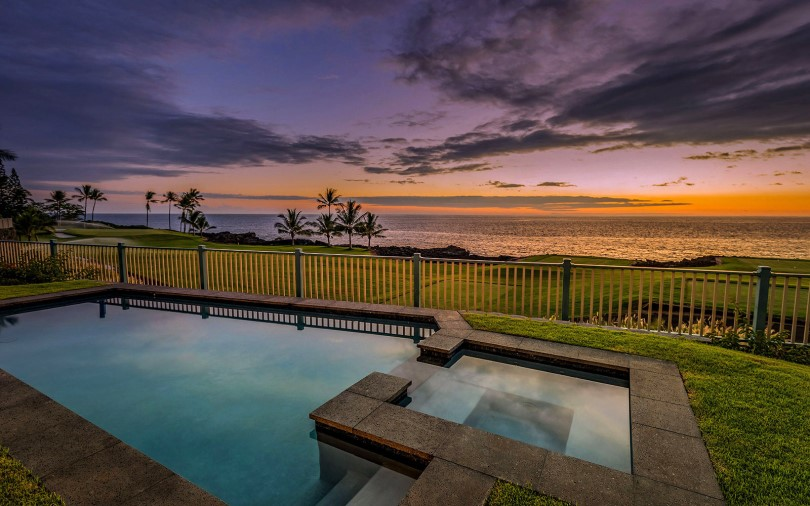 Private pool and spa in the backyard of plan 4 Holua Kai community