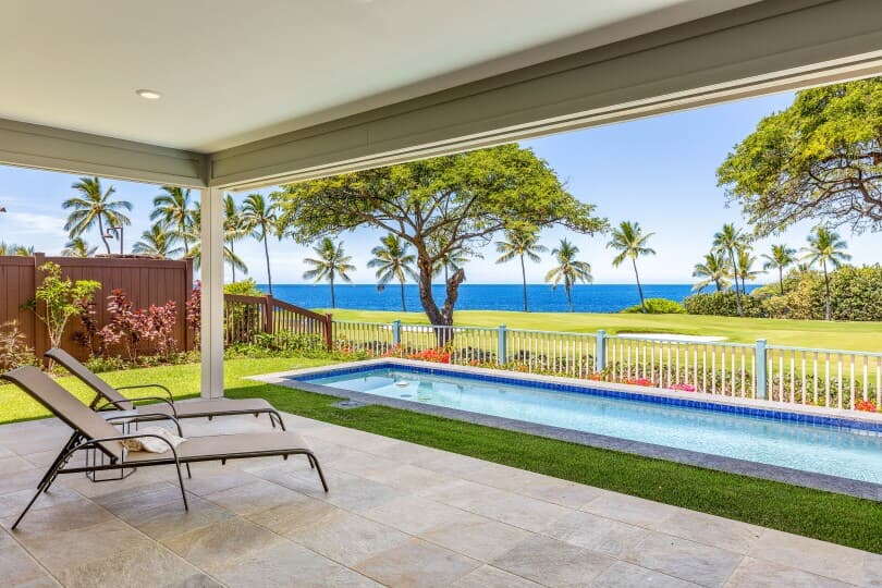 Ocean view from covered lanai in a new home at Holua Kai in Keauhou by Brookfield Residential