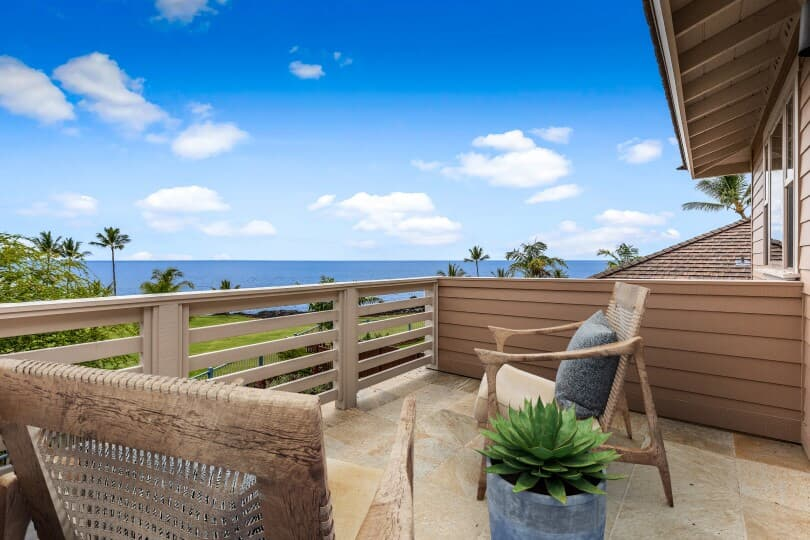 Ocean view from private balcony in a new home at Holua Kai in Keauhou by Brookfield Residential
