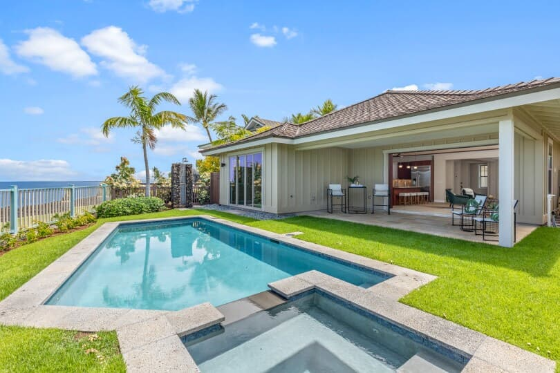 Private pool in the backyard of a new home at Holua Kai in Keauhou by Brookfield Residential