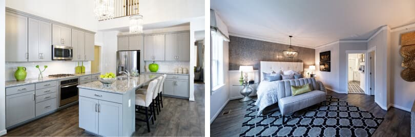 L: Torrington Kitchen; R: Torrington Bedroom | Ridgeview in Damascus, MD | Brookfield Residential