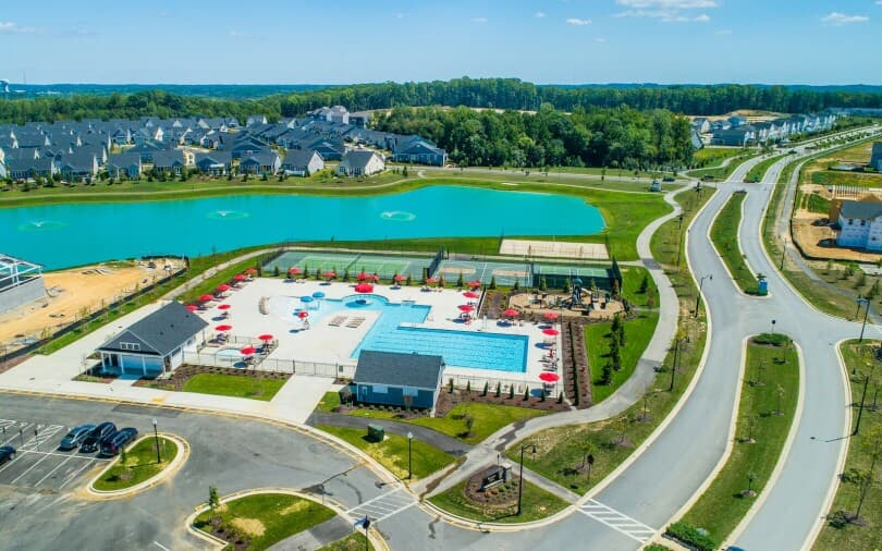 Hamlet Clubhouse pool and courts at Two Rivers in Odenton, MD