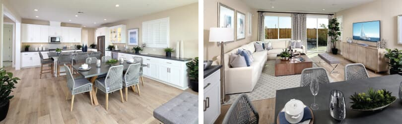L: Easton Kitchen; R: Easton Living Room | Easton at Delaney Park | Oakley, California | Brookfield Residential