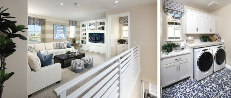 L: Easton Loft; R: Easton Laundry Room | Easton at Delaney Park | Oakley, California | Brookfield Residential