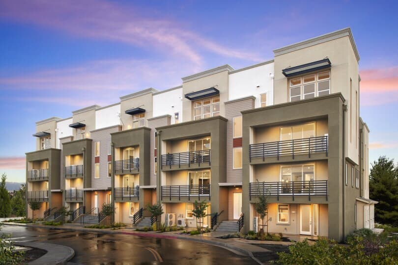Exterior at dusk of Broadway at Boulevard in Dublin, CA by Brookfield Residential