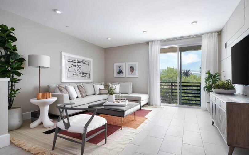 Great room in Residence Three at Broadway at Boulevard in Dublin, CA by Brookfield Residential