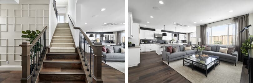 L: Mulholland Staircase; R: Mulholland Great Room | Boulevard in Dublin, California | Brookfield Residential