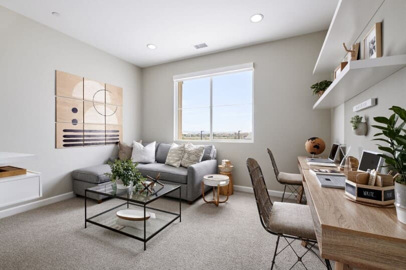 Desk space and loft in the Plan 3 at Indigo at Canvas Park at New Haven in Ontario Ranch, CA