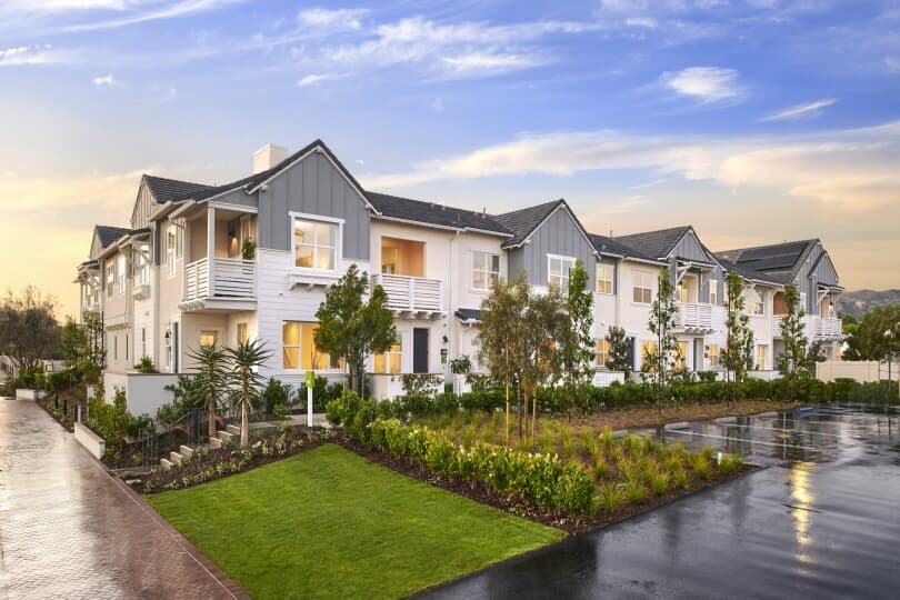 Exterior of the Bayberry townhomes at The Groves in Whittier, CA by Brookfield Residential