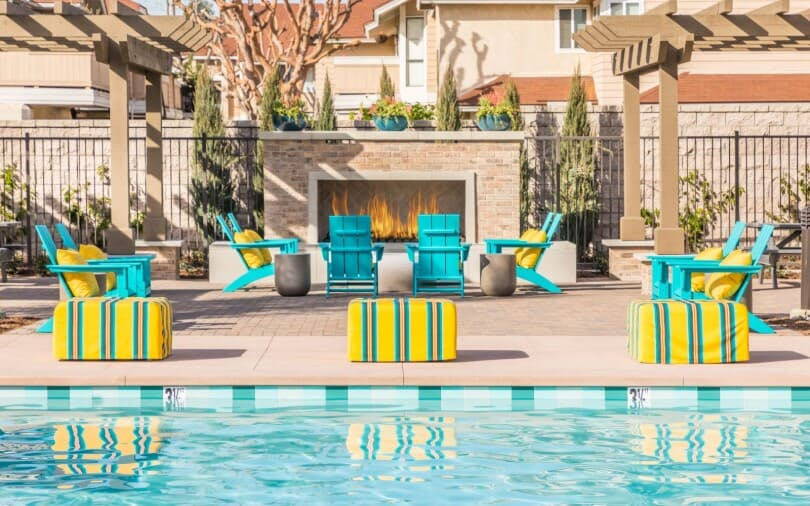 Fire pit and pool at Lantana@Beach in Stanton, CA by Brookfield Residential