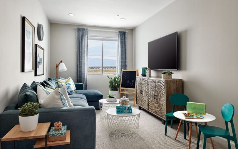 Loft with tv and kid space in the Plan 1 at Indigo at Canvas Park at New Haven in Ontario Ranch, CA