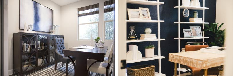 Left: An office with a more traditional feel, Right: An office with a more casual approach