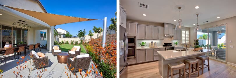 L: Backyard; R: Kitchen | Agave at Spencer's Crossing | Murietta, CA | Brookfield Residential