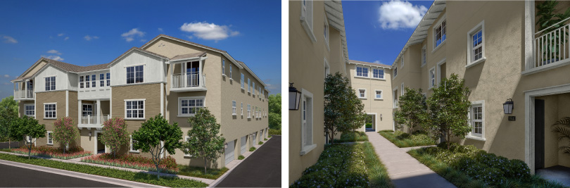 L: Gardens Townhome Exterior; R: Gardens Courtyard | Lantana @Beach in Stanton, California | Brookfield Residential
