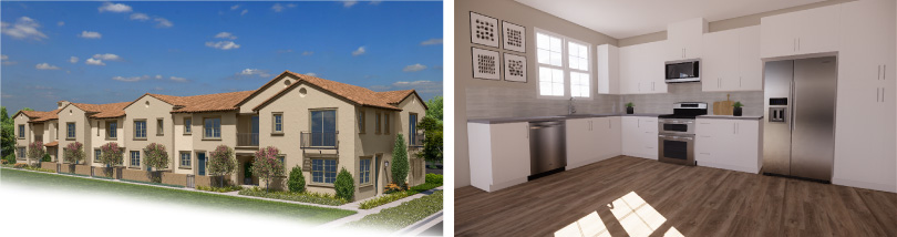 L: Towns Row Townhomes Exterior; R: Towns Kitchen | Lantana @Beach in Stanton, California | Brookfield Residential