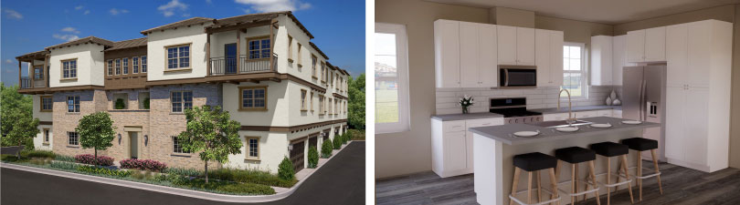 L: Exterior; R: Kitchen | Latitude at Rancho Tesoro in San Marcos, CA