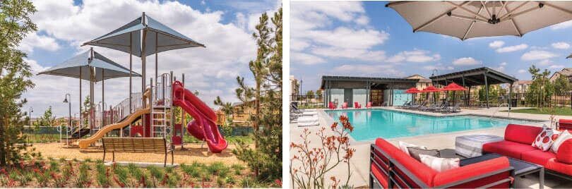 L: Playground; R: Pool - Cherry Park | New Haven in Ontario Ranch, CA