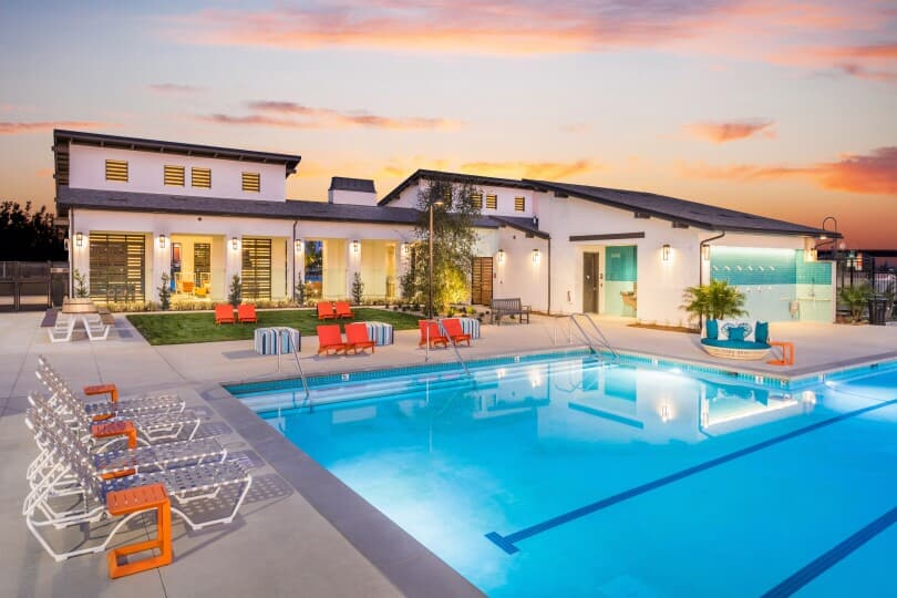 Pool and rec center at Canvas Park at New Haven in Ontario Ranch, CA