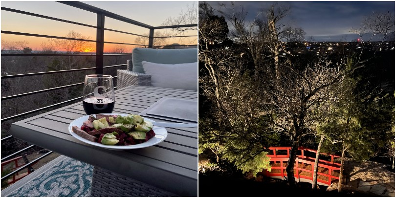 Wine at dusk and evening views on the deck at the Cottages at Crystal Falls in Austin, TX