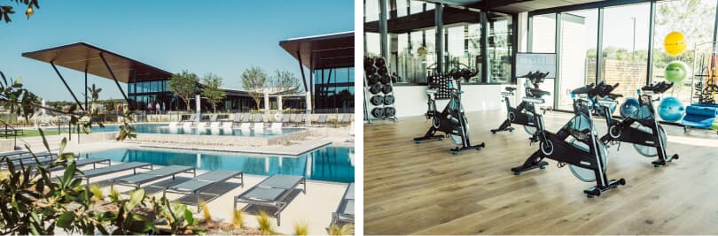 L: Pool; R: Fitness Center | The Union Recreation Center | Easton Park in Southeast Austin, Texas | Brookfield Residential
