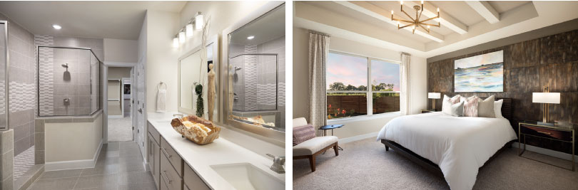 Left: Lawrence Bathroom; Right: Lawrence Master Bedroom | Provence | Austin, Texas