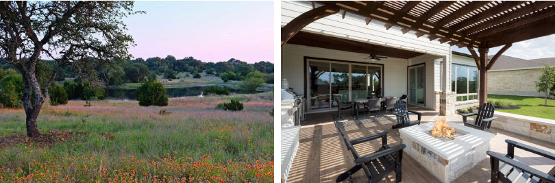 Left: Field; Right: Williams Patio | Provence | Austin, Texas