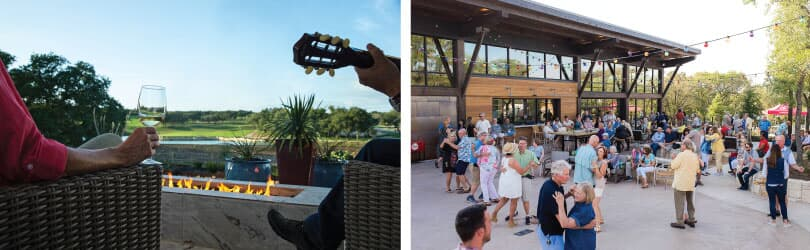L: Patio; R: Dancing | Amenities at Kissing Tree in San Marcos, TX