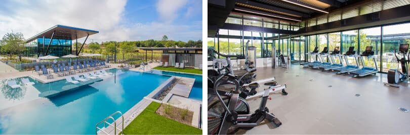 Union Park | L: Pool; R: Fitness Center | Easton Park in Southeast Austin, Texas | Brookfield Residential
