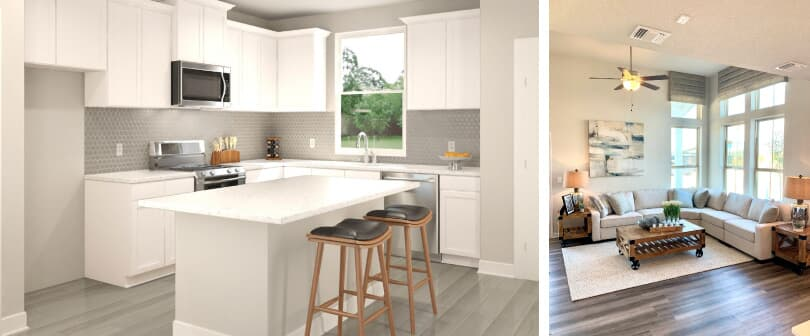 Union Park | L: Kitchen; R: Living Room | Easton Park in Southeast Austin, Texas | Brookfield Residential