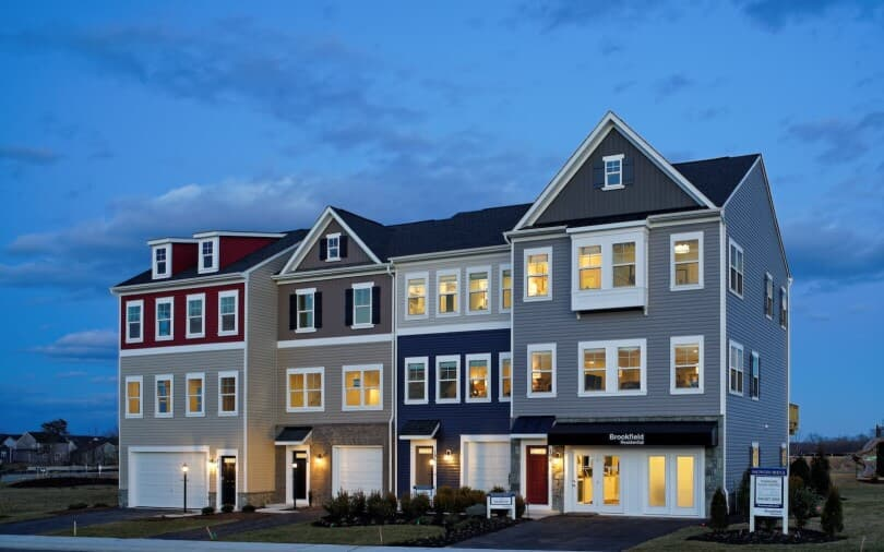 Exterior of the Hightop townhomes at Snowden Bridge in Winchester, VA by Brookfield Residential