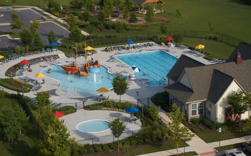 Pirate ship water park and pool at Snowden Bridge in Winchester, VA by Brookfield Residential
