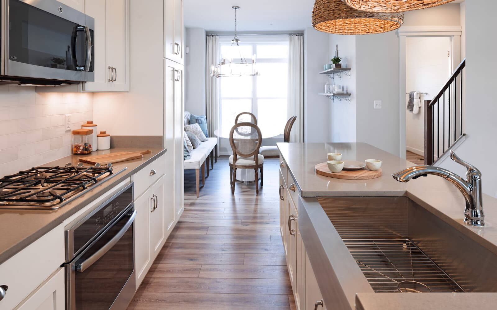 The kitchen of the Baltimore townhome at Admrials Square in Annapolis MD