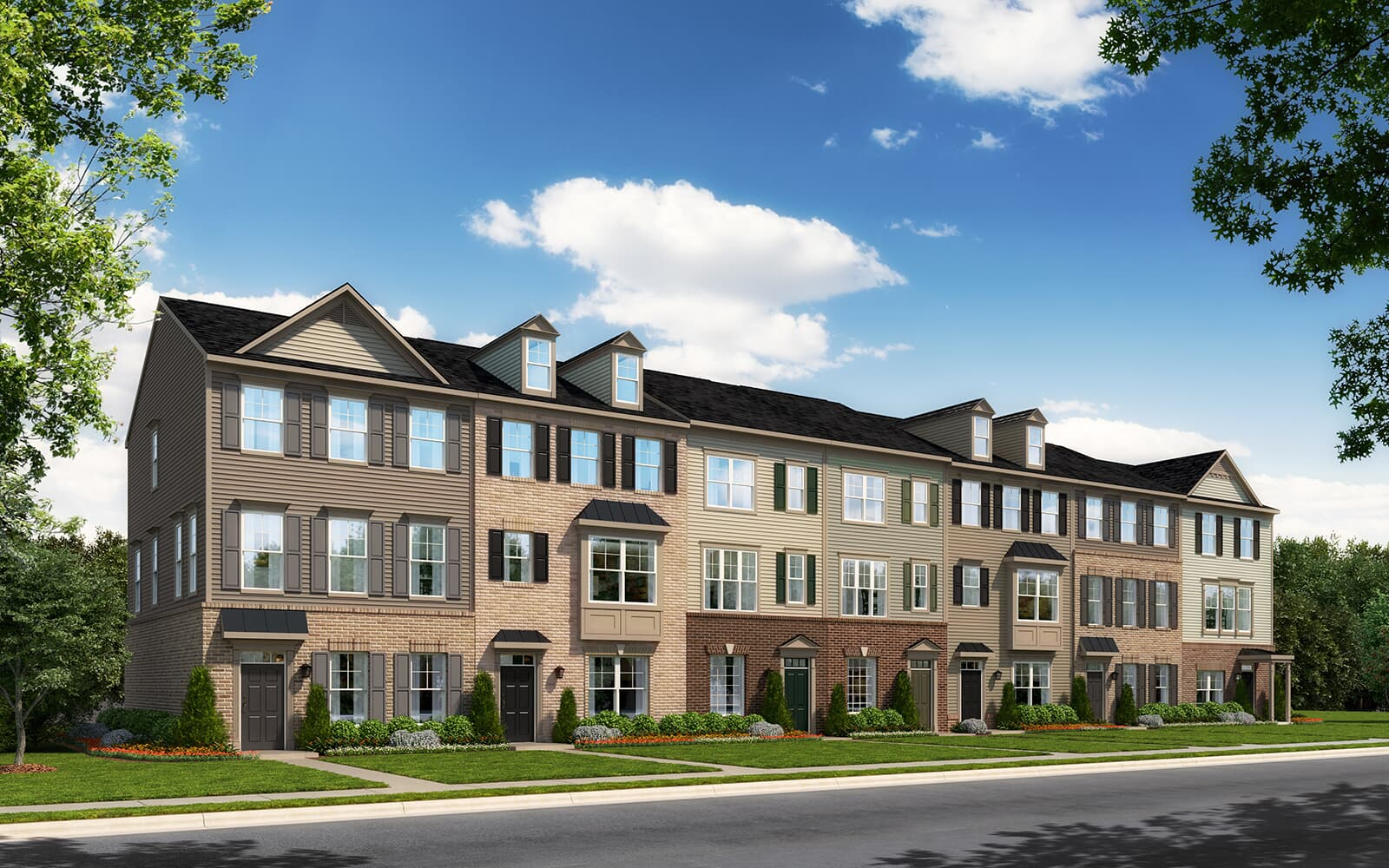 A rendering of the exterior of the Magnolia home design at Bradford s Landing in Silver Spring MD