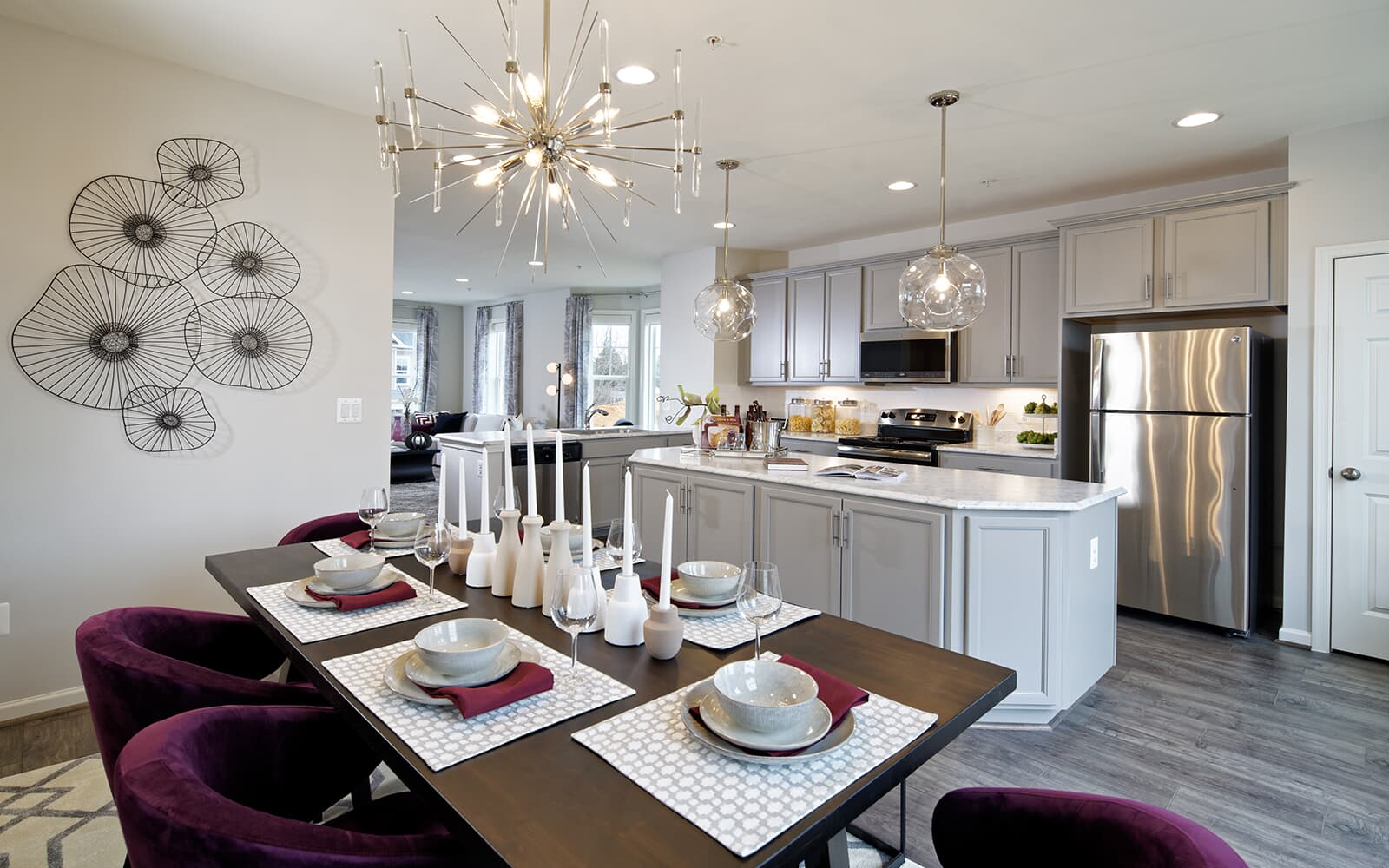 The dining area and kitchen in the Sequoia at Bradford s Landing in Silver Spring MD