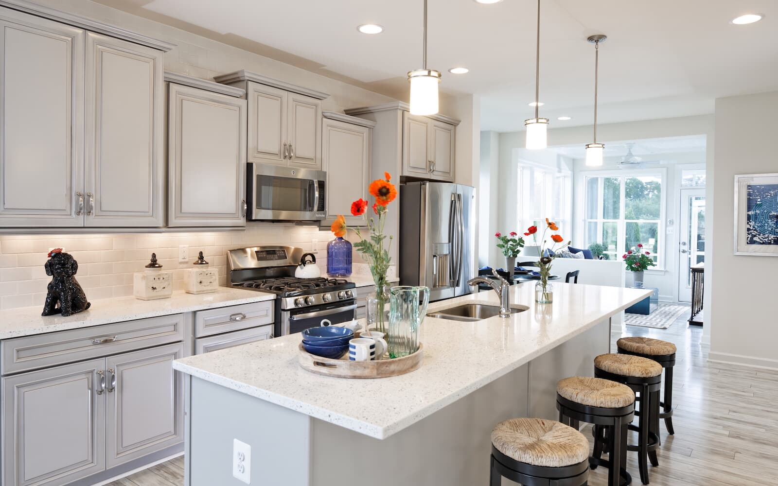 The kitchen of the Bridgeport II at Easton Village by Brookfield Residential