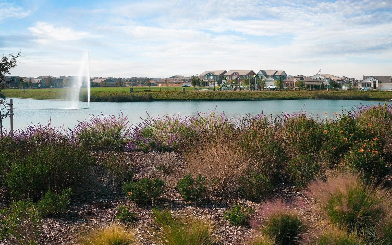 Community lake at the Delaney Park community in Oakley, CA