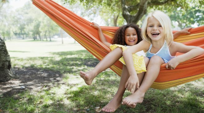 Kids in Hammock within Emerson Ranch community in Oakley, CA | Brookfield Residential