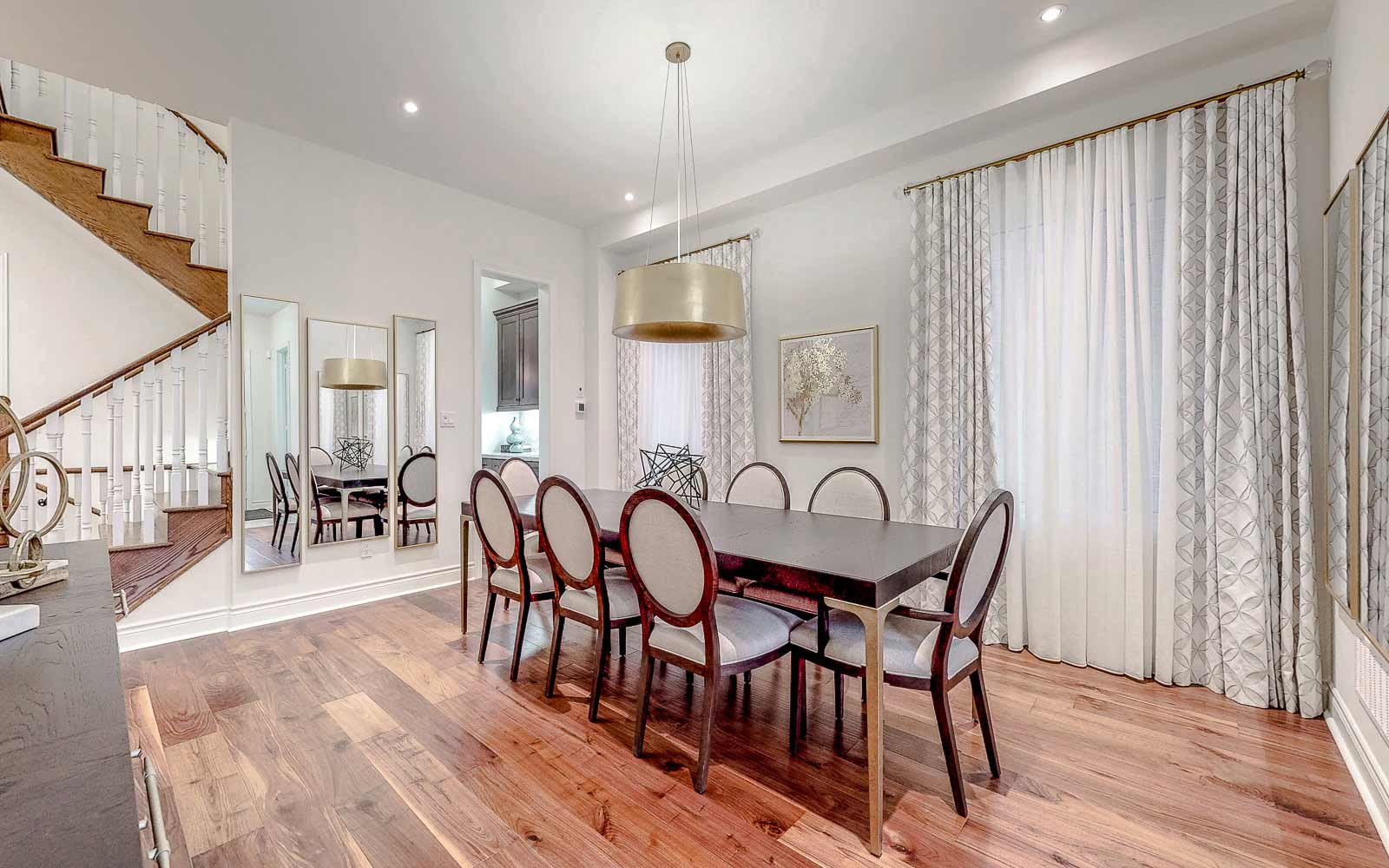 Dining room in Turquoise Model Home at Woodhaven in Aurora, Ontario.