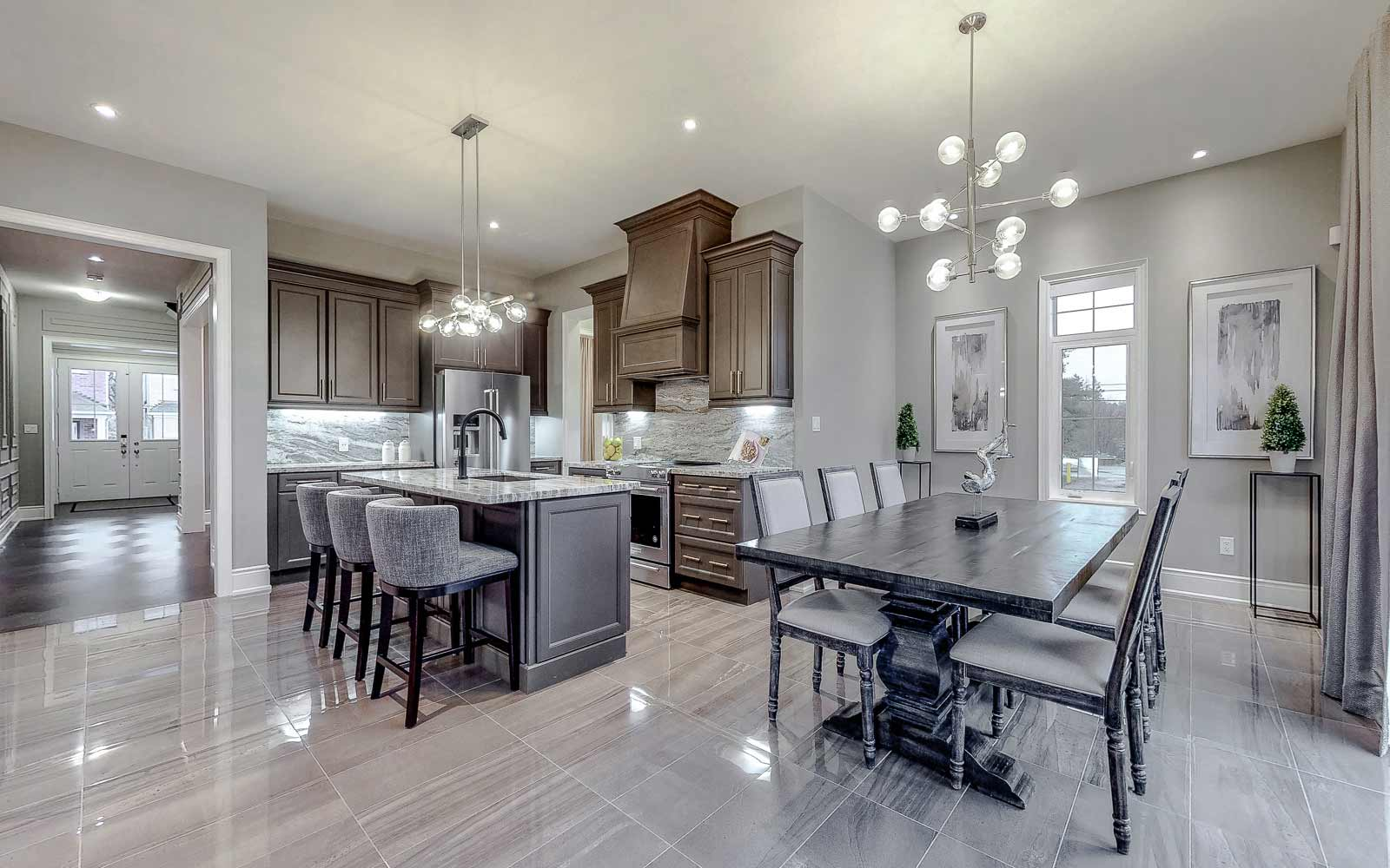 Kitchen in Amethyst Model Home at Woodhaven in Aurora, Ontario.