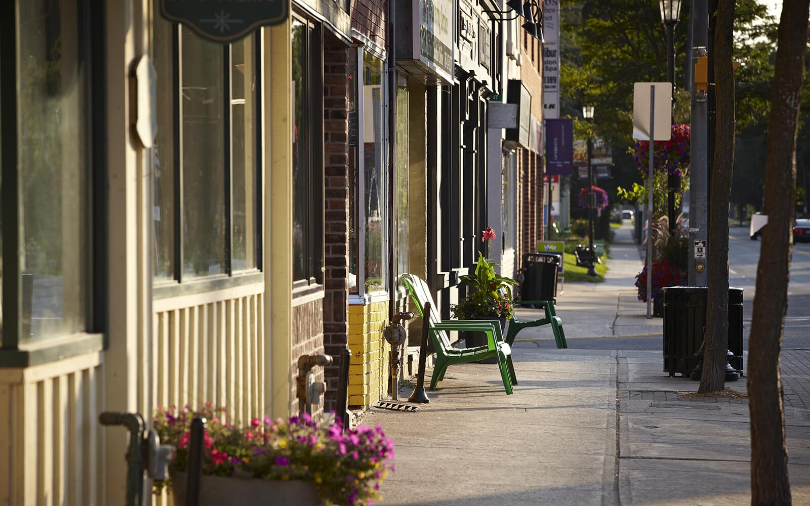 Sidewalk View of Shops in Baxter, Ontario.