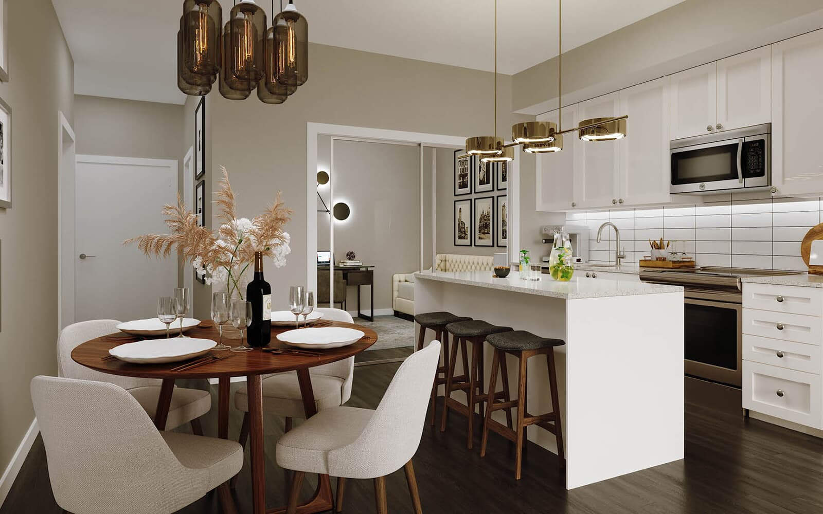 Dining and Kitchen Rendering at 50 Ann in Bolton, Ontario.