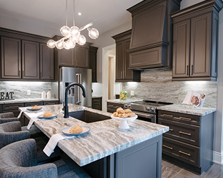 Kitchen in a model home at Woodhaven in Aurora, Ontario.