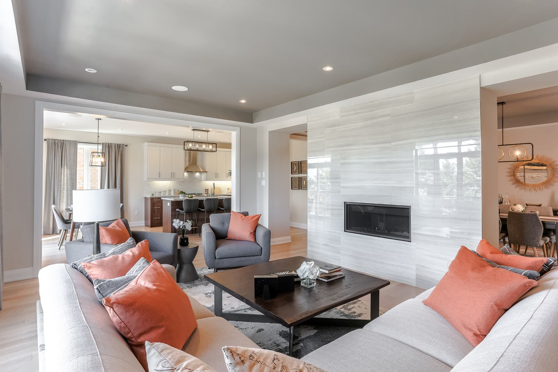 Interior living area showcasing the Revelstoke fireplace available at Pinehurst